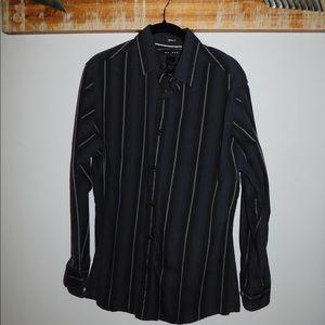 Men's black striped button down long sleeves
